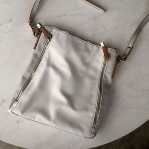 H&M purse white with gold,gray and brown accents